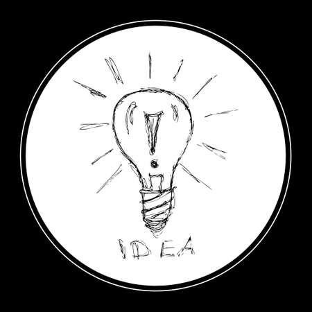 messy: Hand drawn pen and ink illustration of a light bulb