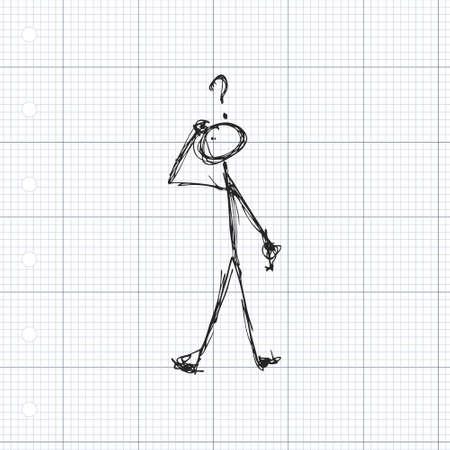 그의 머리 위에 물음표가있는 성냥개비 남자의 낙서 일러스트