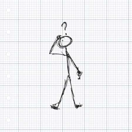 Doodle of a matchstick man with a question mark above his head Ilustrace