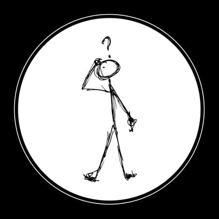 unknown men: Doodle of a matchstick man with a question mark above his head Illustration