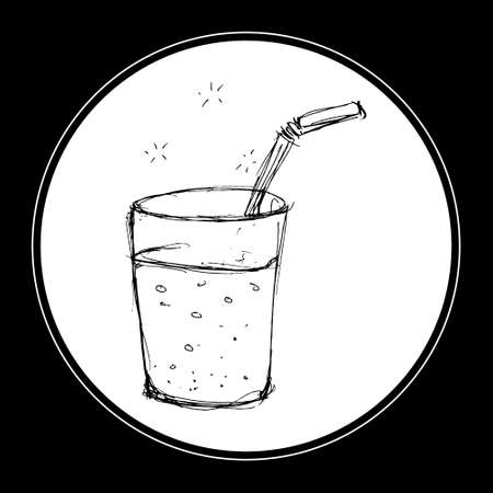 straw: Hand drawn illustration of a glass with a straw Illustration