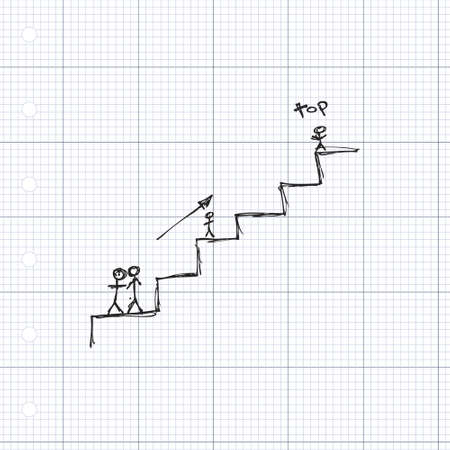 upward climb: Doodle of matchstick men climbing some stairs Illustration