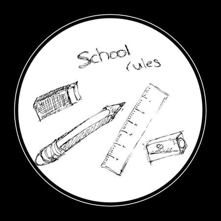 selection: Doodle of a selection of school equipment