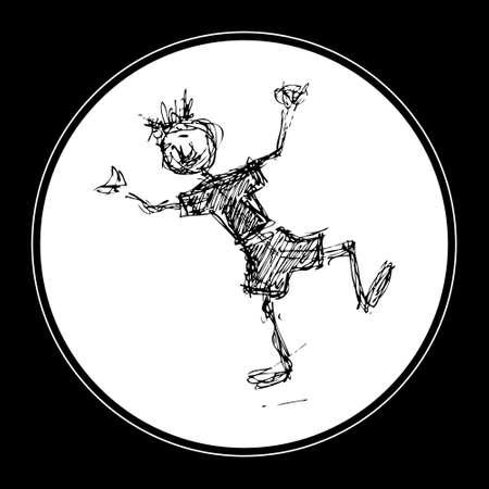 scruffy: Scruffy doodle of a happy boy dancing