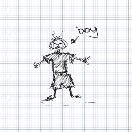 arms open: Scruffy doodle of a boy standing with his arms open.