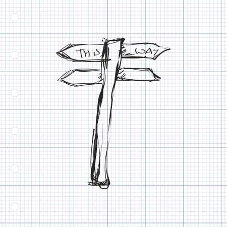 wood grass: Simple hand drawn doodle of a signpost