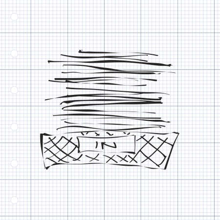 rack arrangement: Simple hand drawn doodle of an in tray