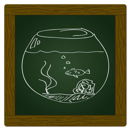 goldfish bowl: Simple hand drawn doodle of a goldfish bowl