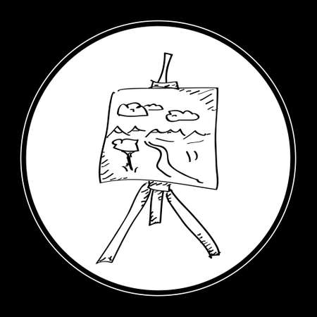 easel: Simple hand drawn doodle of an artists easel
