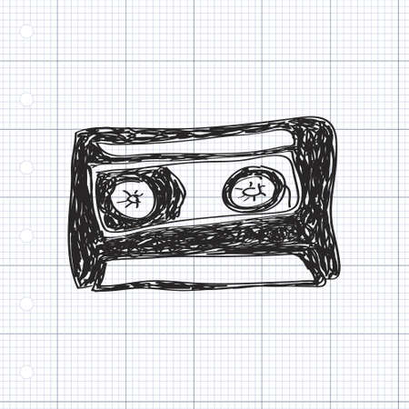 pop musician: Simple hand drawn doodle of a cassette