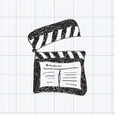 directors: Simple hand drawn doodle of a clap board Illustration