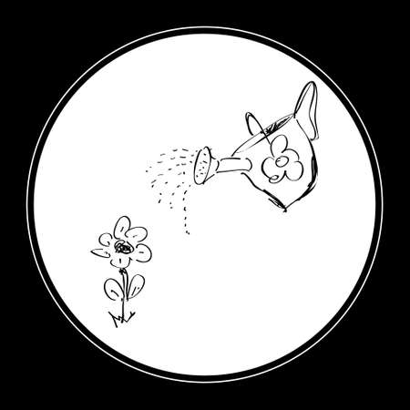 irrigator: Simple hand drawn doodle of a watering can Illustration