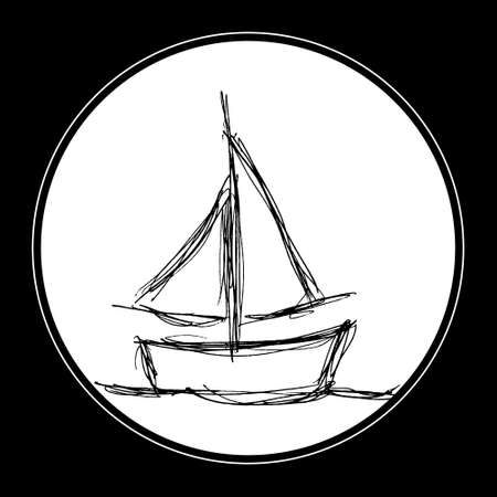 sails: Hand drawn illustration of a boat with sails Illustration