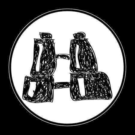 binoculars view: Simple hand drawn doodle of a pair of binoculars