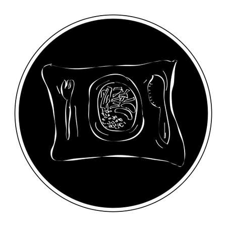 dinner plate: Simple hand drawn doodle of a dinner plate