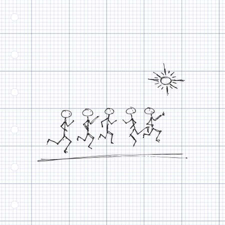 matchstick: doodle of matchstick men playing in the sunshine