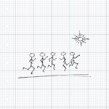doodle de cerillas de los hombres que juegan en el sol