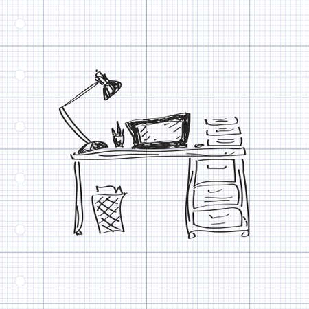 papel de notas: Simple mano doodle de escritorio Vectores