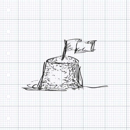 quick drawing: Simple hand drawn doodle of a sand castle Illustration