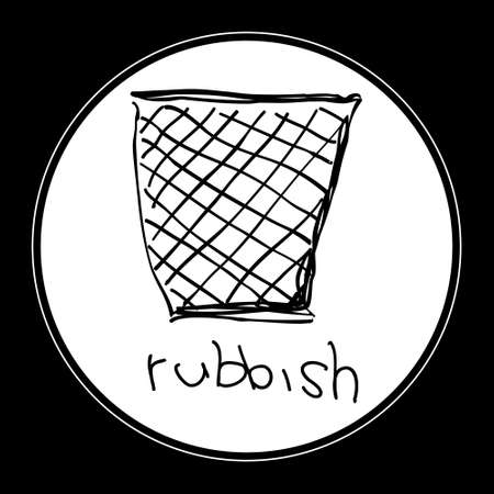 waste basket: Simple hand drawn doodle of a rubbish bin
