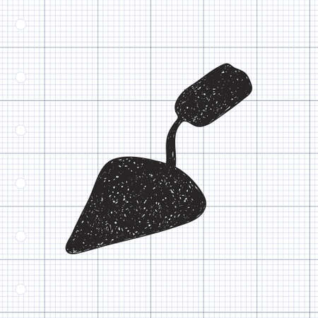 hand trowel: Simple hand drawn doodle of a trowel