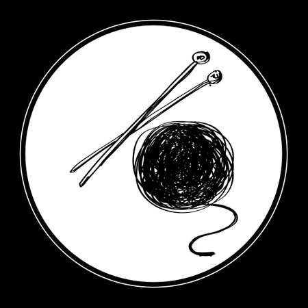 needles: Simple hand drawn doodle of wool and knitting needles