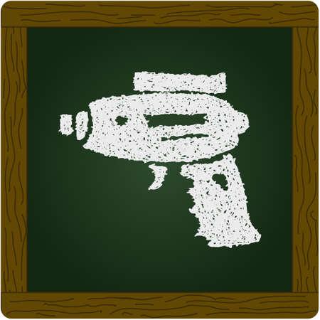 futuristic pistol: Simple hand drawn doodle of a space gun Illustration