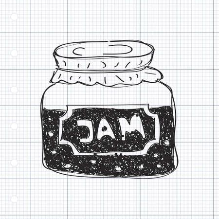 Semplice mano doodle disegnati di un barattolo di marmellata
