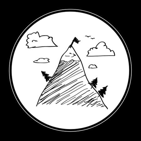 rocky mountain: Simple hand drawn doodle of a mountain
