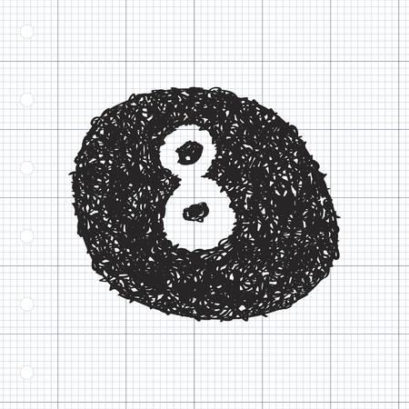 bola ocho: Simple bosquejo dibujado mano de una pelota de ocho Vectores