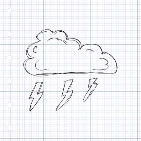 quirky: Simple hand drawn doodle of a cloud with lightning