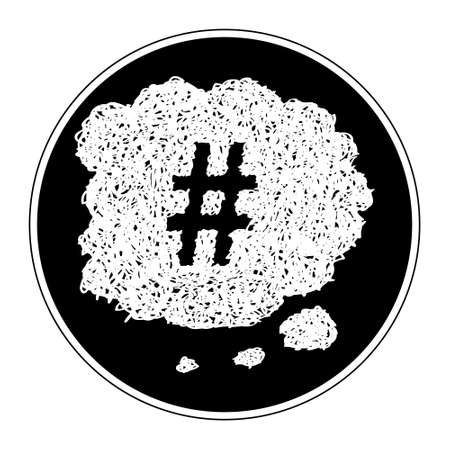 hand tag: Simple hand drawn doodle of a hash tag thought bubble
