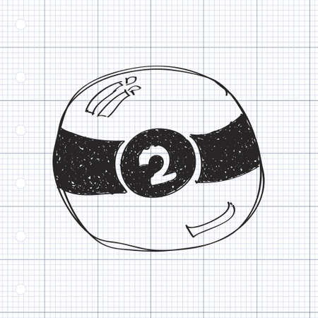 pool ball: Simple hand drawn doodle of a pool ball
