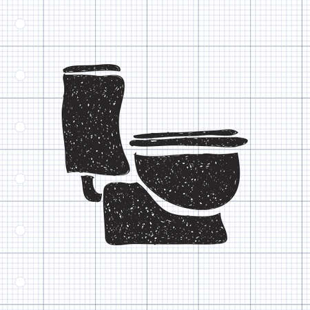 toilette: Simple hand drawn doodle of a toilet