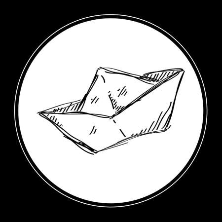 folded hand: Simple hand drawn doodle of a paper boat Illustration