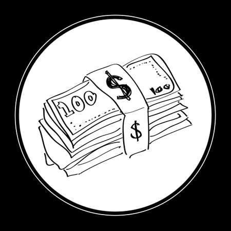 bank notes: Simple hand drawn doodle of a wad of bank notes Illustration