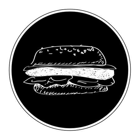 american food: Simple hand drawn doodle of a burger