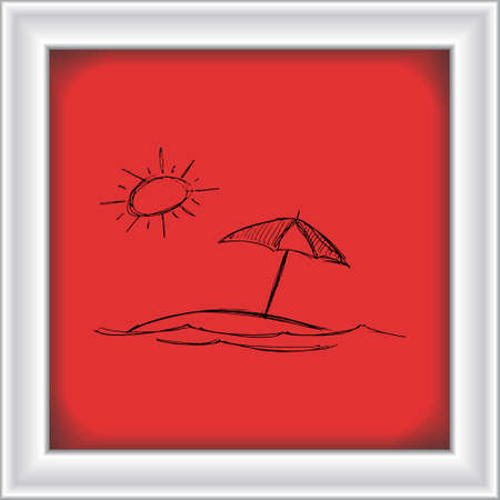 parasol: Hand drawn illustration of the sun and a parasol