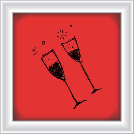 port wine: Hand drawn cartoon style wine glass design Illustration