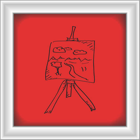 artist's canvas: Simple hand drawn doodle of an artists easel
