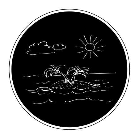 desert island: Simple hand drawn doodle of a desert island