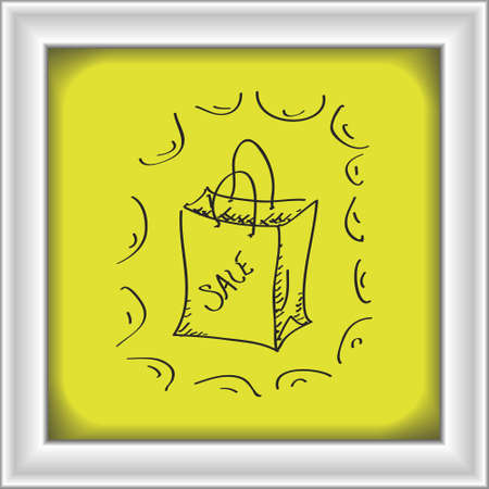 Simple hand drawn doodle of a sale bag Illustration