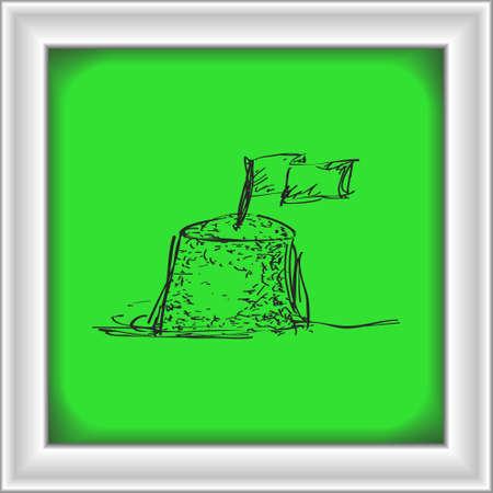 sand castle: Simple hand drawn doodle of a sand castle Illustration