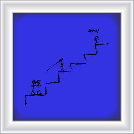 matchstick: Doodle of matchstick men climbing some stairs Illustration
