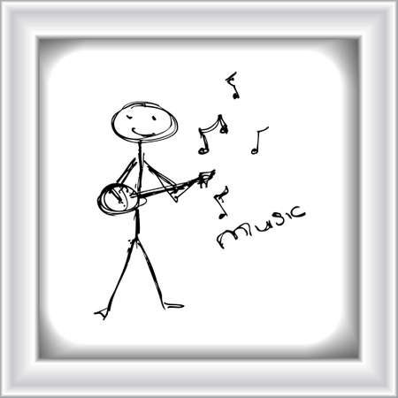 guy playing guitar: Doodle of a matchstick man playing a guitar