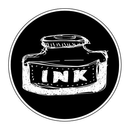 lowbrow: Simple hand drawn doodle of a bottle of ink