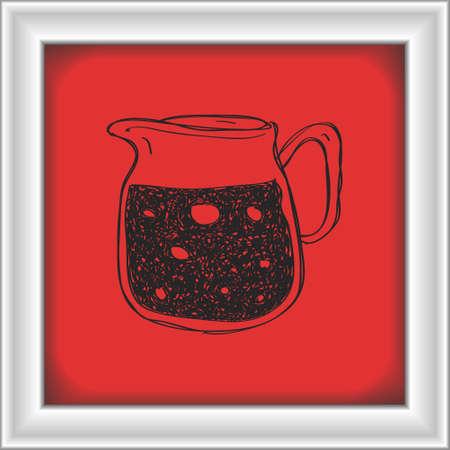 jug: Simple hand drawn doodle of a jug