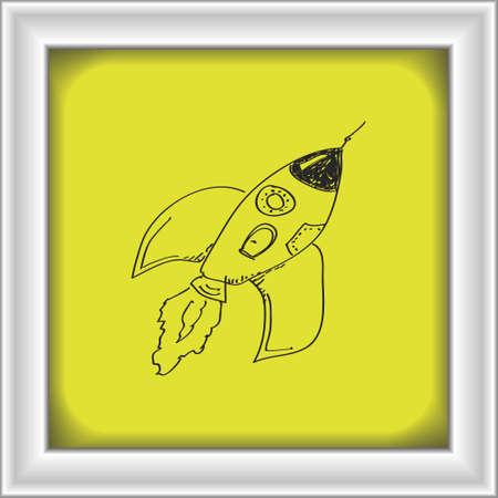rocketship: Simple hand drawn doodle of a rocket