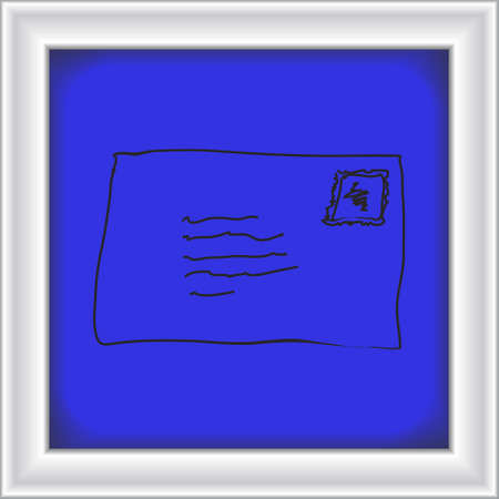 quick drawing: Simple hand drawn doodle of an envelope