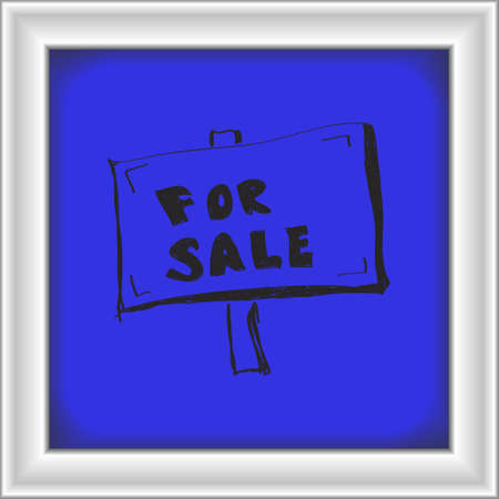 for sale sign: Simple hand drawn doodle of a for sale sign